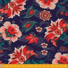 Tecido Tricoline Floral Jardim da Paz - Azul Marinho - 100% Algodão - Largura 1,50m