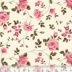 Tecido Tricoline Floral Jardim Era - Rosa - 100% Algodão - Largura 1,50m