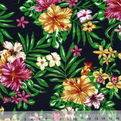 Tecido Tricoline Floral Jardim Havaí - Fundo Azul Marinho
