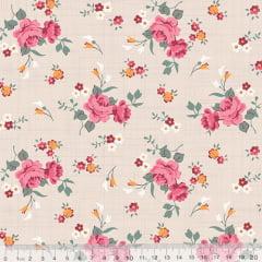 Tecido Tricoline Floral Jardim Riscado - Bege - 100% Algodão - Largura 1,50m