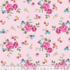 Tecido Tricoline Floral Jardim Riscado - Rosa - 100% Algodão - Largura 1,50m