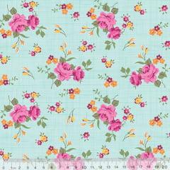 Tecido Tricoline Floral Jardim Riscado - Verde - 100% Algodão - Largura 1,50m