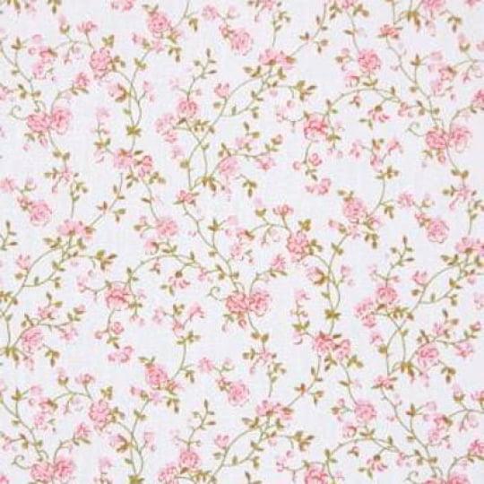 Tecido Tricoline Floral Laura - Rosê - 100% Algodão - Largura 1,50m