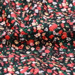 Tecido Tricoline Floral Liberty - Pure Red - 100% Algodão - Largura 1,50m