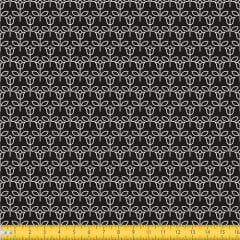 Tecido Tricoline Floral Mini Rosas - Fundo Preto - 100% Algodão - Largura 1,50m