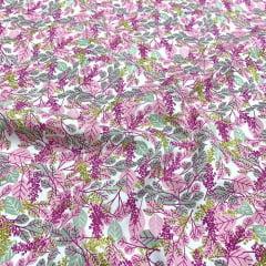 Tecido Tricoline Floral Safe - Rosa - 100% Algodão - Largura: 1,50m
