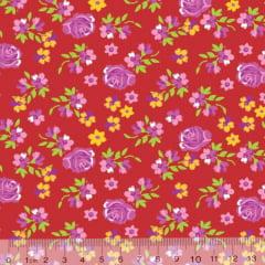Tecido Tricoline Floral Soft - Vermelho - 100% Algodão - Largura 1,50m