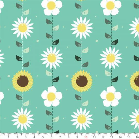 Tecido Tricoline Floral Três Flores - Turquesa - 100% Algodão - Largura: 1,50m