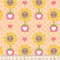 Tecido Tricoline Florzinha Love - Rosê - 100% Algodão - Largura 1,50m