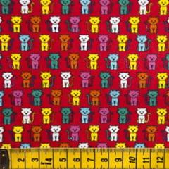 Tecido Tricoline FM Animais Multicoloridos Gatinho - Fundo Vermelho - 100% Algodão - Largura 1,50m