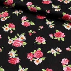 Tecido Tricoline FM Floral Bill Black - 100% Algodão - Largura 1,50m