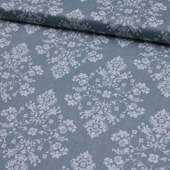 Tecido Tricoline FM Floral Brasão - Azul - 100% Algodão - Largura 1,50m