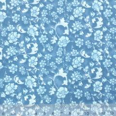 Tecido Tricoline FM Floral Gardênia - Azul - 100% Algodão - Largura 1,50m