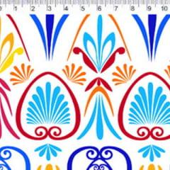 Tecido Tricoline FM M. Nakata - Formas Maiores - Azul e Vermelho - 100% Algodão - Largura 1,50m