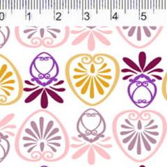 Tecido Tricoline FM M. Nakata - Formas Mini - Amarelo e Roxo - 100% Algodão - Largura 1,50m