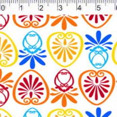 Tecido Tricoline FM M. Nakata - Formas Mini - Azul e Amarelo - 100% Algodão - Largura 1,50m