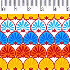 Tecido Tricoline FM M. Nakata Pequenos Corações - Amarelo e Azul - 100% Algodão - Largura 1,50m