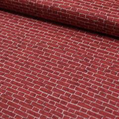 Tecido Tricoline FM Textura Tijolos - Escuro - 100% Algodão - Largura 1,50m