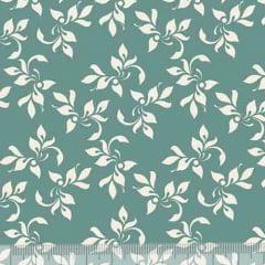 Tecido Tricoline Folhagem Mini - Verde Antigo c/ Marfim - 100% Algodão - Largura 1,50m