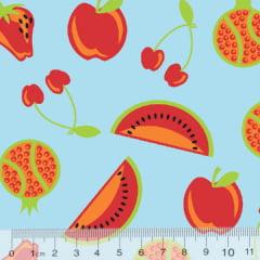 Tecido Tricoline Frutas Vermelhas - Fundo Azul