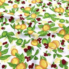 Tecido Tricoline Frutífero - Branco - 100% Algodão - Largura: 1,50m