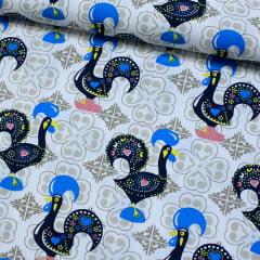 Tecido Tricoline Galo Português Azulejo - 100% Algodão - Largura 1,50m