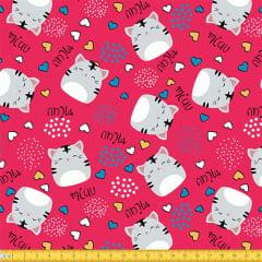 Tecido Tricoline Gatinha Miau - Rosa Pink - 100% Algodão - Largura: 1,50m