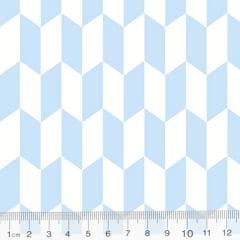 Tecido Tricoline Geometria Design Arrow - Azul - 100% Algodão - Largura 1,50m