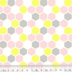 Tecido Tricoline Geometria Design Hexágono - Rosa - 100% Algodão - Largura 1,50m