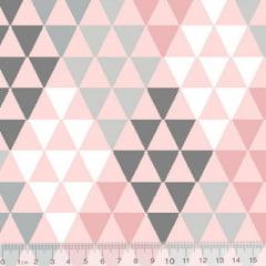 Tecido Tricoline Geometria Design Mini Pirâmides - Rosa - 100% Algodão - Largura 1,50m