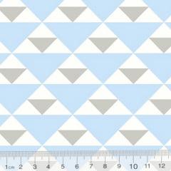 Tecido Tricoline Geometria Design Triangulo - Azul - 100% Algodão - Largura 1,50m