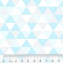 Tecido Tricoline Geométrico Ibira Maior - Azul Piscina - 100% Algodão - Largura 1,50m