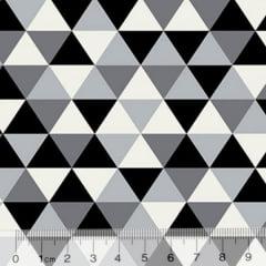 Tecido Tricoline Geométrico Ibira Maior - Preto - 100% Algodão - Largura 1,50m