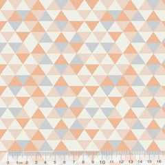 Tecido Tricoline Geométrico Ibira Mini - Salmão - 100% Algodão - Largura 1,50m