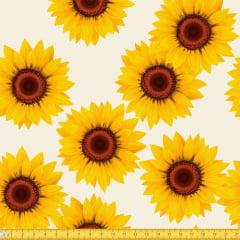 Tecido Tricoline Girassóis Amarelos - Bege - 100% Algodão - Largura: 1,50m