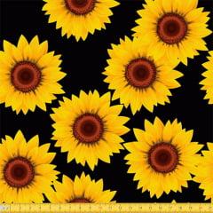 Tecido Tricoline Girassóis Amarelos - Preto - 100% Algodão - Largura: 1,50m