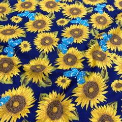 Tecido Tricoline Girassol e Borboleta - Azul Marinho - 100% Algodão - Largura: 1,50m