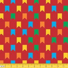 Tecido Tricoline Junino Bandeirinhas Coloridas - Vermelho - 100% Algodão - Largura 1,50m
