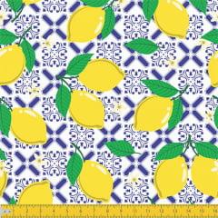 Tecido Tricoline Ladrilhos Limão Siciliano - 100% Algodão - Largura: 1,50m