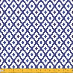 Tecido Tricoline Ladrilhos Portal - Azul - 100% Algodão - Largura: 1,50m