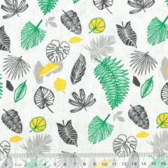 Tecido Tricoline Folhas Coloridas - Fundo Cinza Claro