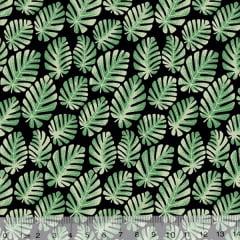 Tecido Tricoline Leafs Mini Costela de Adão - Fundo Preto - 100% Algodão - Largura 1,50m