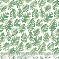 Tecido Tricoline Leafs Mini Costela de Adão - Fundo Branco - 100% Algodão - Largura 1,50m