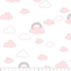 Tecido Tricoline Leve Baby - Céu e Nuvens - Rosa - 100% Algodão - Largura 1,50m
