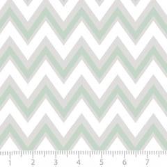 Tecido Tricoline Leve Baby - Chevron Baby - Verde - 100% Algodão - Largura 1,50m
