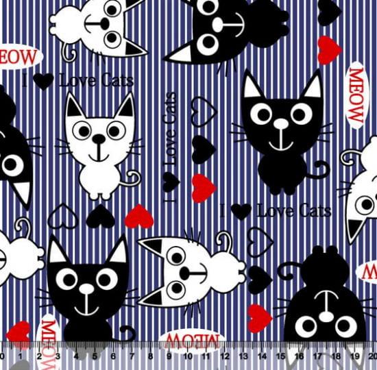 Tecido Tricoline Love Cats Listras - Azul Marinho - 100% Algodão - Largura: 1,50m