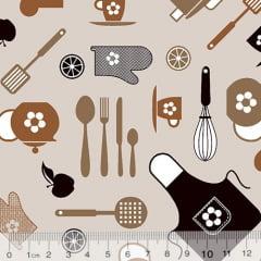Tecido Tricoline Minha Cozinha - Bege - 100% Algodão - Largura 1,50m