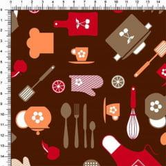 Tecido Tricoline Minha Cozinha - Marrom - 100% Algodão - Largura 1,50m
