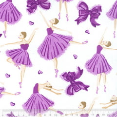 Tecido Tricoline Mista Ballet - Lilás - 90% Algodão 10% Poliéster - Largura 1,50m