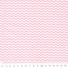 Tecido Tricoline Mista Chevron Mini - Rosa Claro c/ Branco - 90% Algodão 10% Poliéster - Largura 1,50m